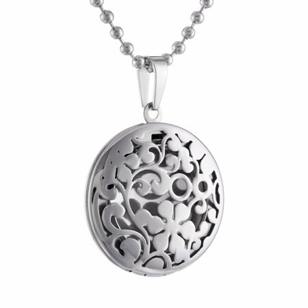 Stainless Steel Round Cut Out Locket Pendant Necklace Cut Out Butterfly Pendant