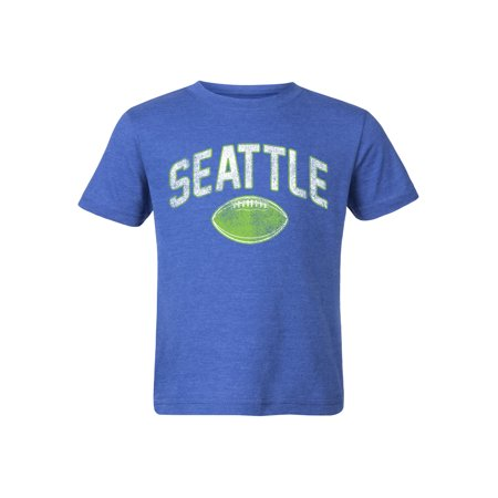 Cotton Football Shirts (Boys Seattle Football Fan Distressed Cotton Graphic Tee Shirt)