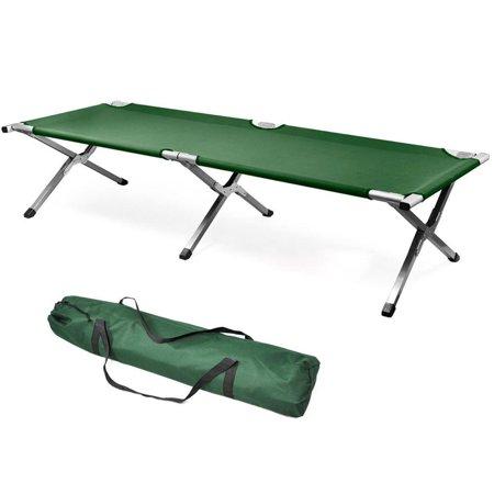GHP 150-Kgs Capacity Army Green Aluminium Tube & Oxford Portable Foldable Cot w Bag