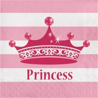 Pink Princess Royalty 2 Ply Luncheon Napkins,Pack of 16 EA