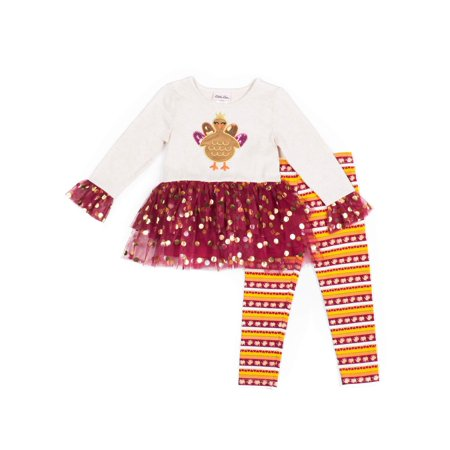 Cute Thanksgiving Outfits For Women (Little Lass Thanksgiving Long Sleeve Tulle Top and Printed Leggings, 2pc Outfit Set (Toddler)