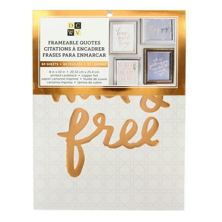 Gold Foil Sheets (American Crafts DCWV Copper Frameable Quotes Stack Prints - 40 Sheets 8