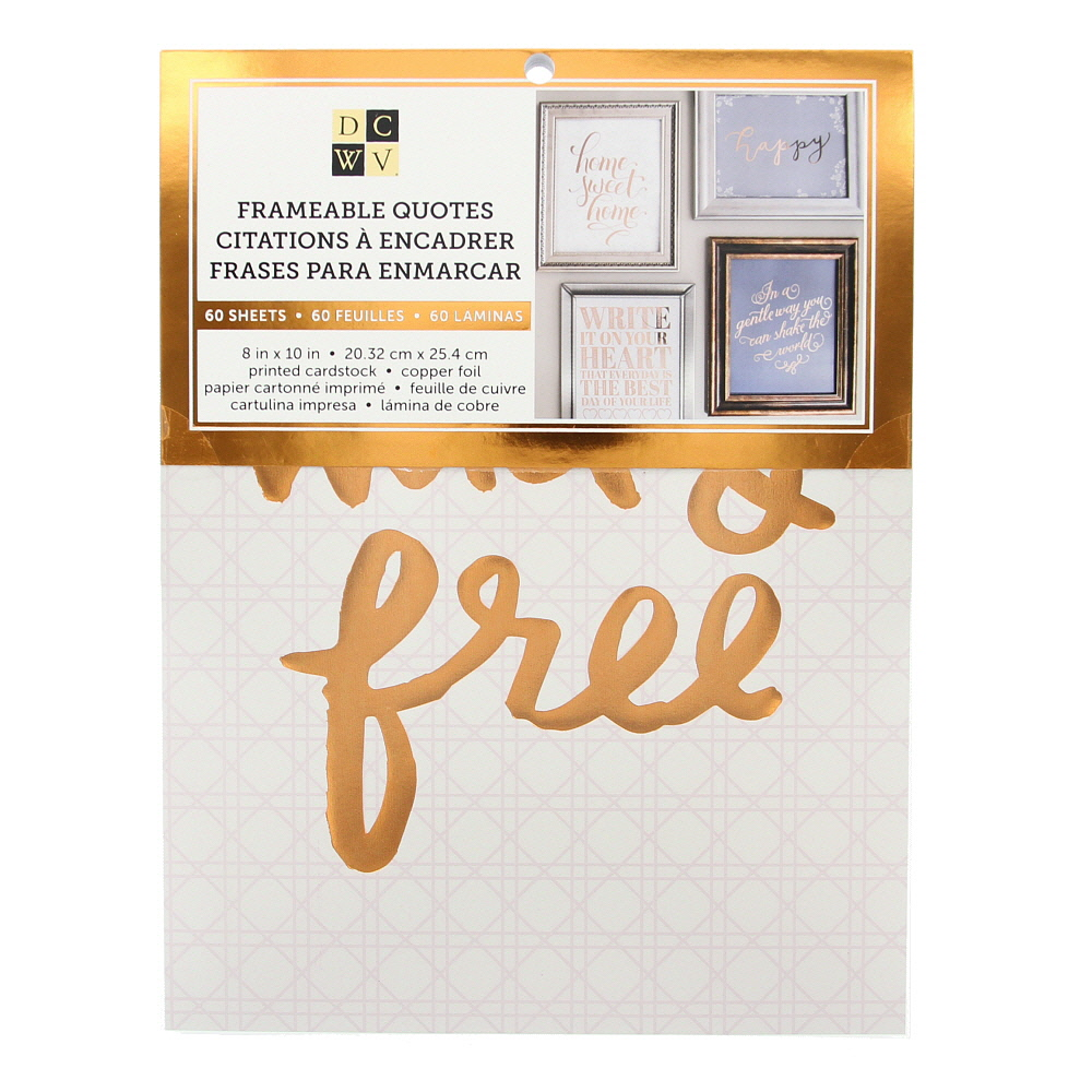 "American Crafts DCWV Copper Frameable Quotes Stack Prints - 40 Sheets 8"" x 10"", 40 Sheet 5"" x 7"" - Gold Foil, 80 Sheets"