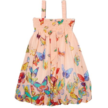 Wenchoice Girl's Peach Butterfly Babydoll Dress - M(3T-4T) (Princess Peach Dress)