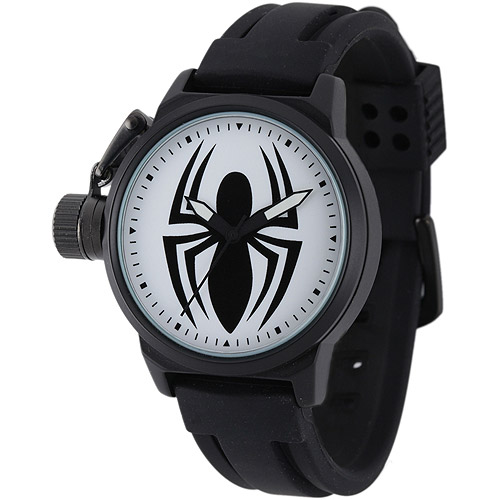 Marvel Spider Men's Crown Protector Watch, Black Rubber Strap
