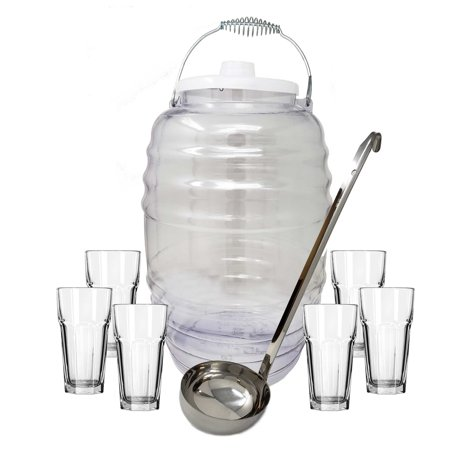Fiesta Drinking Glasses (3 In 1 Pack of 5 Gal Vitrolero Aguas Frescas Tapadera Water Jug Juice Beverage Container With Lid,16oz Ladle & 22 oz. Gibraltar Glass Cups - Clear, Party Fiesta Catering)
