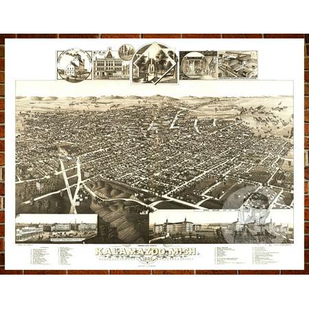 Ted's Vintage Art Map of Kalamazoo, MI 1883; Old Michigan Decor 24
