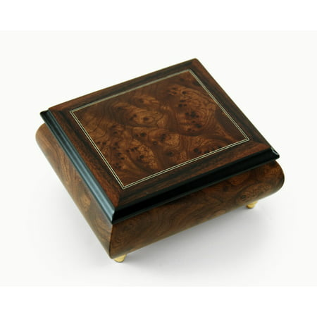 Classic Style Burl-Elm with Rosewood Border Music Box - Ave Maria,