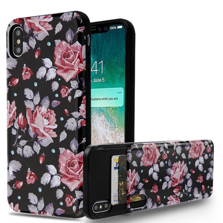 Apple iPhone Xs Max (6.5 Inch) Phone Case Shockproof Hybrid Rubber Rugged Case Cover Slim with Double Card Holder Pinky White Rose Phone Case for Apple iPhone Xs (Card Holder Case Cover)