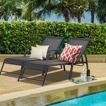 Set of 2 Patio Lounge Chairs Sling Chaise Lounges Recliner Adjustable Back - image 6 of 10