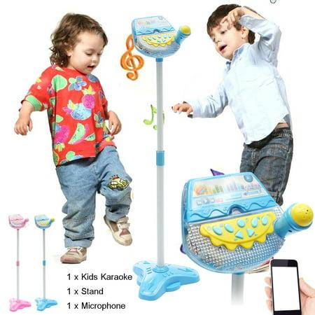 Moaere Kid Music Sing Play Fun Toy Set Adjustable Stand Microphones Karaoke Machine