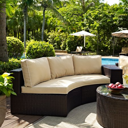 Crosley Catalina Wicker Patio Round Sectional Sofa With Sand Cushions