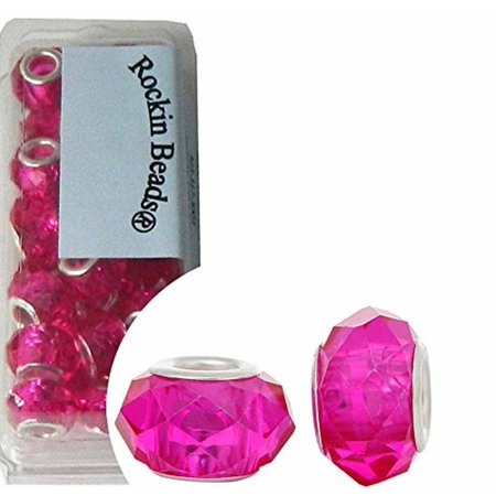 24 Fuchsia Pink, Loose Beads, Faceted Glass Large 4.5-5mm Hole](Large Beads)