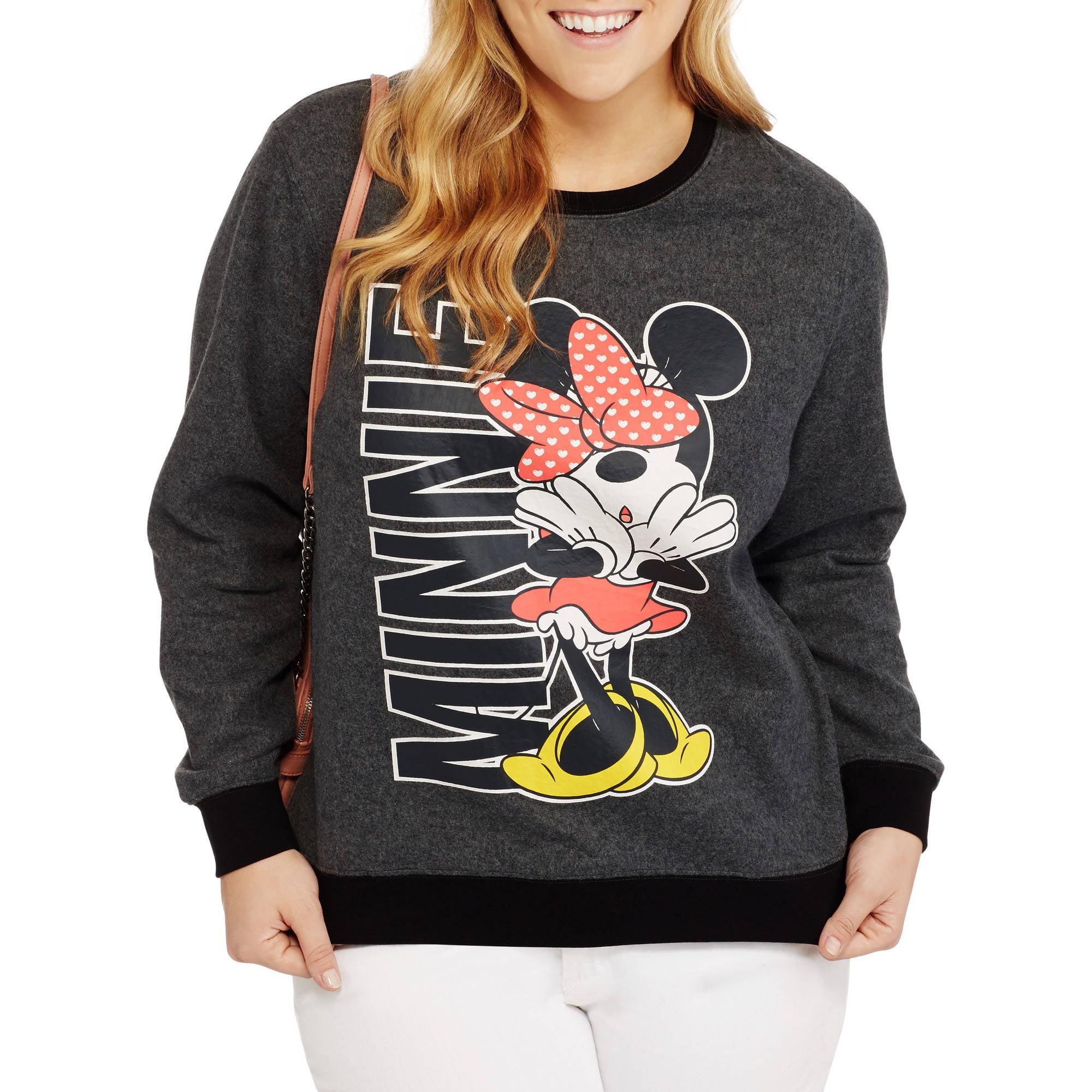 Disney Minnie Mouse Juniors' Plus Cozy Crew Neck Fleece Sweater