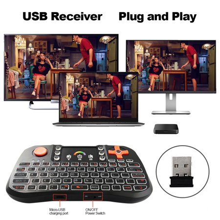 TZ10 Wireless Keyboard Touchpad Mouse Handheld Remote Control with Colorful Backlight for Android Smart TV PC Notebook Laptop Black - image 1 of 7
