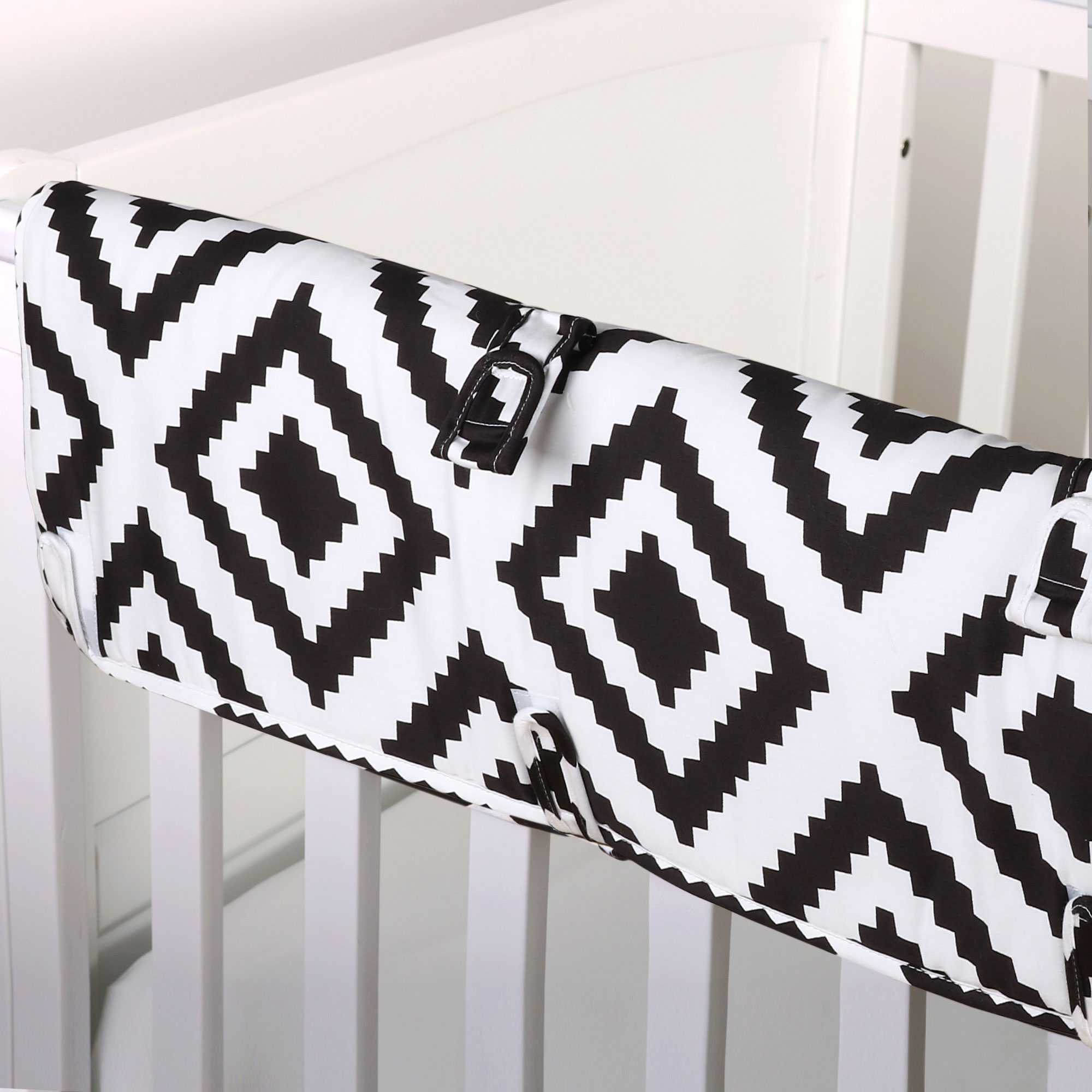 The Peanut Shell Baby Crib Rail Guard - Black Diamond Geometric Tile Print - 100% Cotton Sateen Cover, Polyester Fill