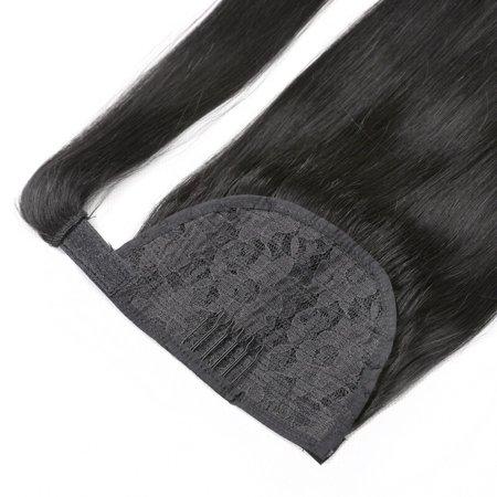 BHF Hair Double Drawn Human Hair DrawstringPonytail, Wrap Around Human Hair Accessories Ponytail 1B# Natural Black 16