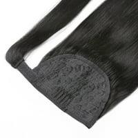"BHF Hair Double Drawn Human Hair DrawstringPonytail, Wrap Around Human Hair Accessories Ponytail 1B# Natural Black 16"" 60g"