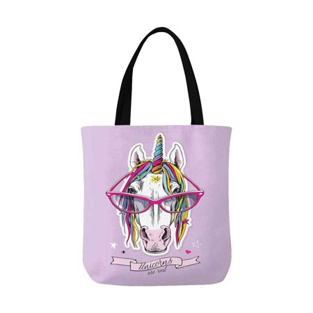 HATIART Portrait of a Magical Unicorn Reusable Grocery Bags Shopping Bag Canvas Tote Bag Shoulder Bag - image 1 de 3