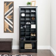 Prepac 24 pair Shoe Storage Rack with bottom shelf, Black