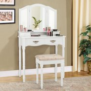 Costway White Tri Folding Vanity Makeup Table Stool W/4 Drawers