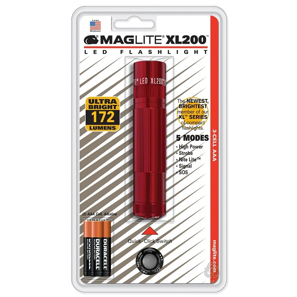 Maglite XL200 3 Cell AAA LED, Blister Pack, Red