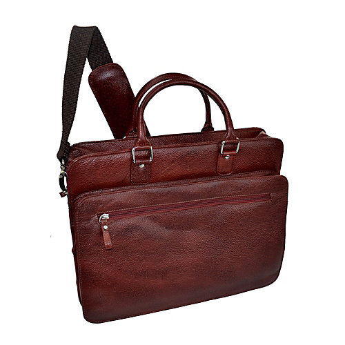 R & R Collections Cow Pebble Grain Leather Top Zip Laptop Briefcase