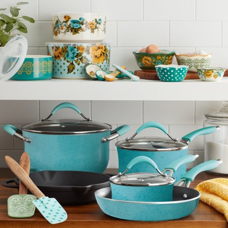 The Pioneer Woman Frontier Speckle 24-Piece Cookware & Food Storage Combo Set, Turquoise