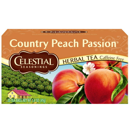 Celestial Seasonings Black Tea Honey - (6 Boxes) Celestial Seasonings Herbal Tea, Country Peach Passion, 20 Count