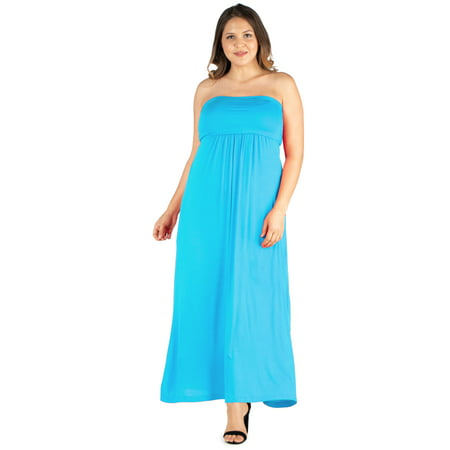 Women's Plus Size Strapless Maxi Dress