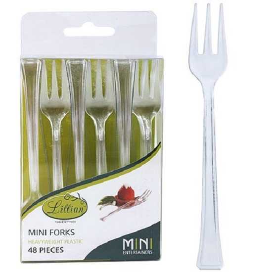 Lillian 48 Clear Plastic Mini Forks Cocktail Party Appetizers