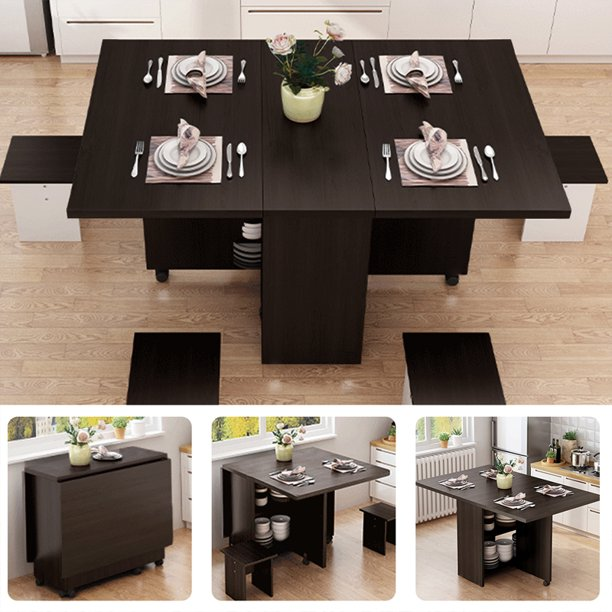 3 In 1 Folding Wooden Counter Dining, Wood Folding Dining Room Table And Chairs