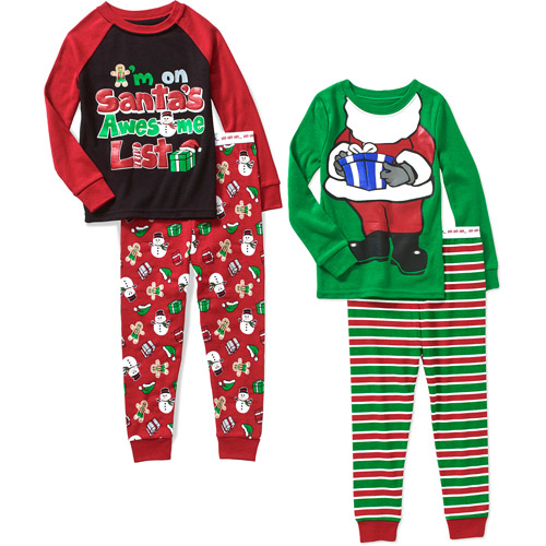Baby Toddler Boy Christmas Cotton Tight Fit Pajamas, 2 Sets ...