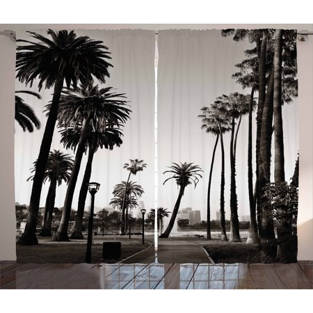 Palm Tree Curtains 2 Panels Set Los Angles Downtown Park View Tropical Nature California American