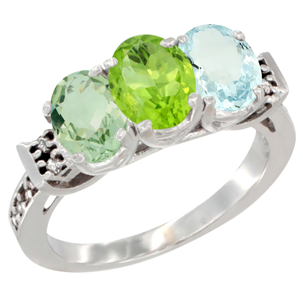 10K White Gold Natural Green Amethyst, Peridot & Aquamarine Ring 3-Stone Oval 7x5 mm Diamond Accent, sizes 5 10 by WorldJewels