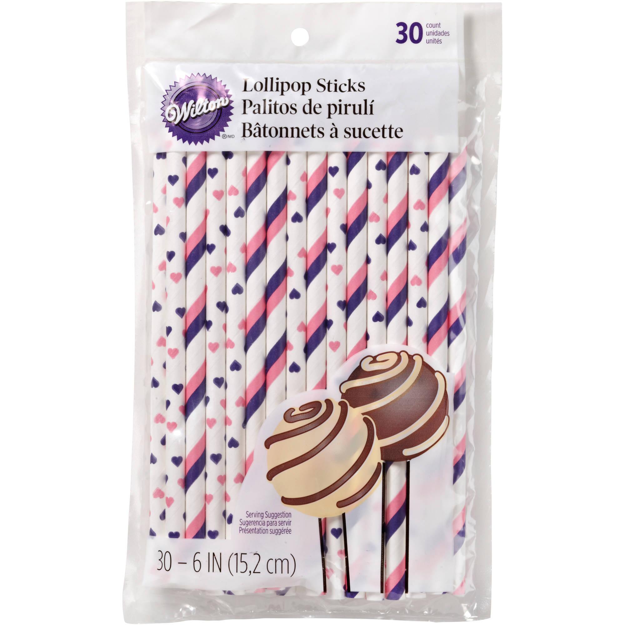 """Wilton 6"""" Lollipop Picks, Pink & Purple 30 ct. 1912-4001"""