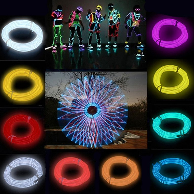 Flexible EL Wire Neon Light 3 Meters For Dance Party Car Decor With Controller