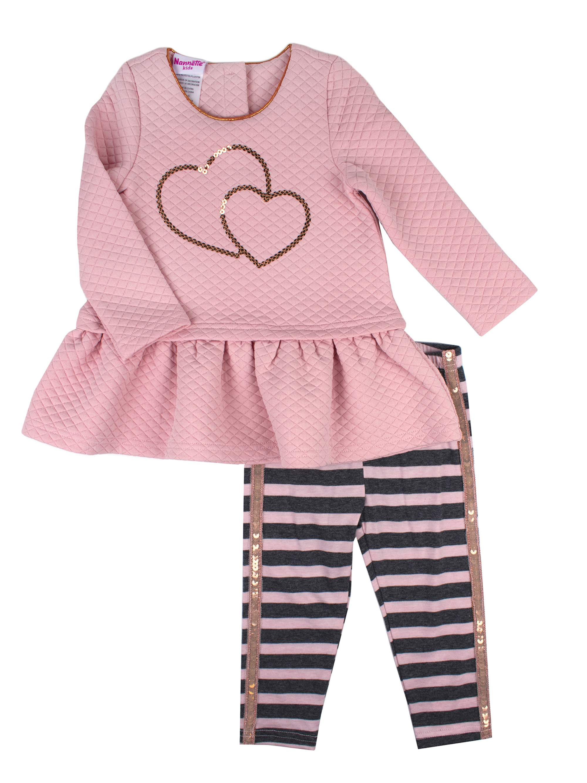 Sequin Quilted Top and Legging, 2-Piece Outfit Set (Little Girls)
