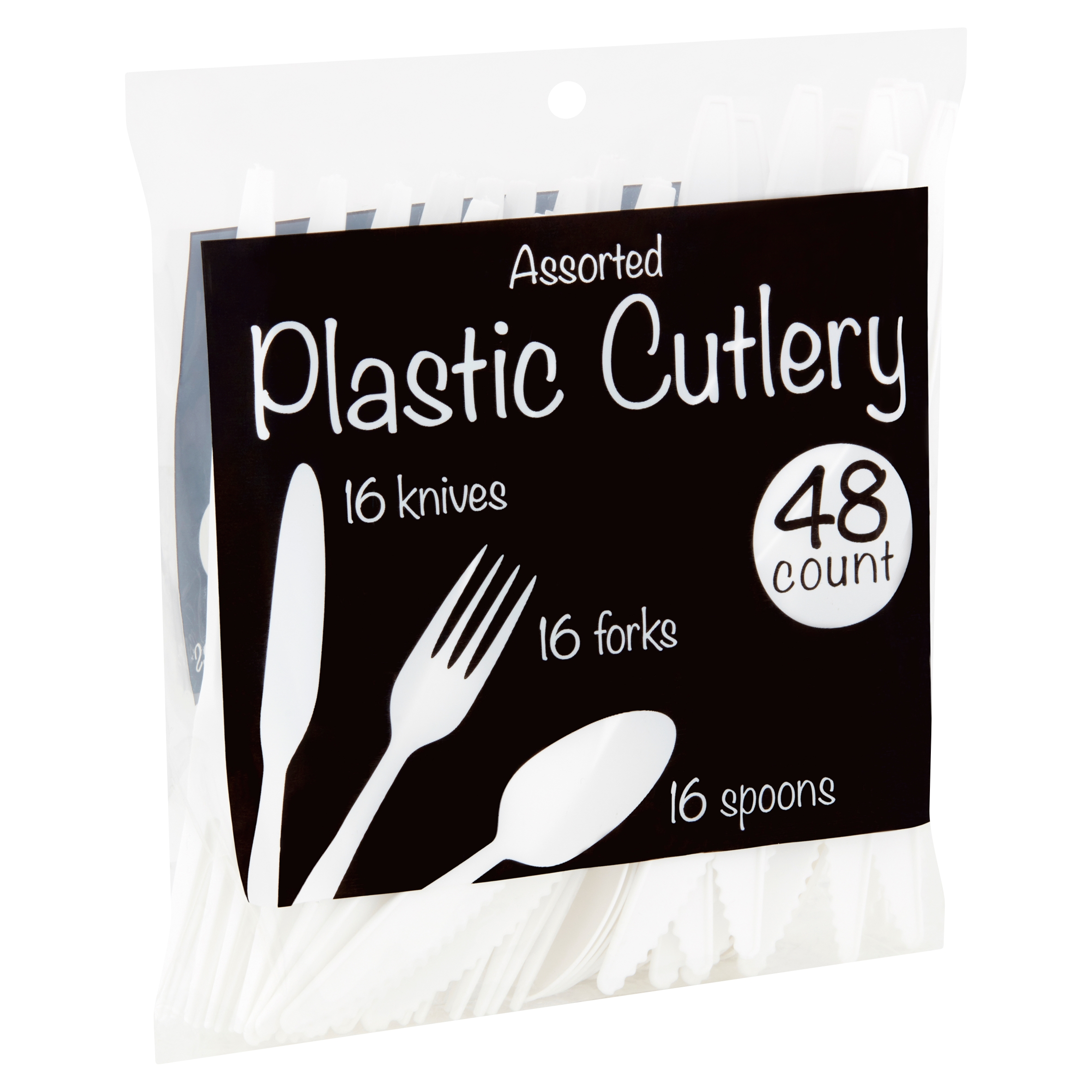 Assorted Plastic Cutlery, 48 count