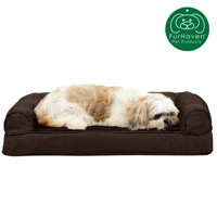 FurHaven Pet Dog Bed | Cooling Gel Memory Foam Orthopedic Ultra-Plush Sofa-Style Couch Pet Bed for Dogs & Cats, Espresso, Medium