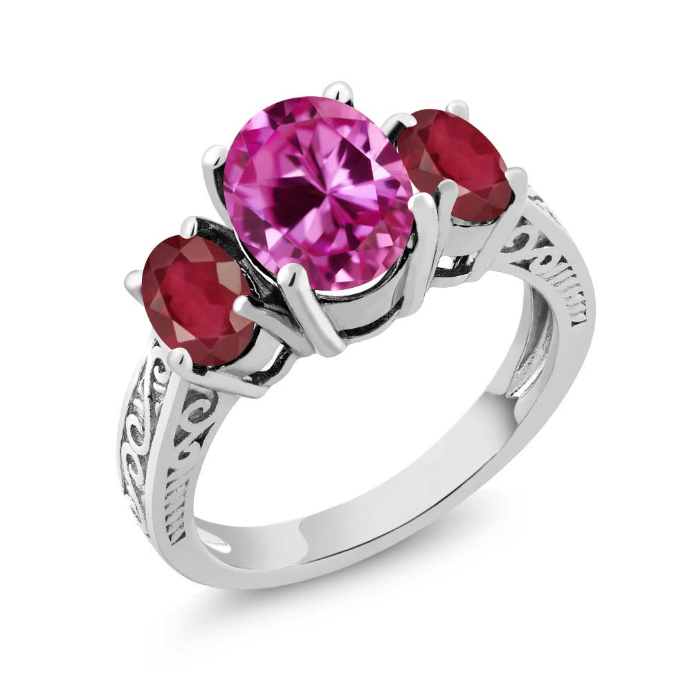 3.70 Ct Oval Pink Created Sapphire African Red Ruby 14K White Gold 3-Stone Ring by