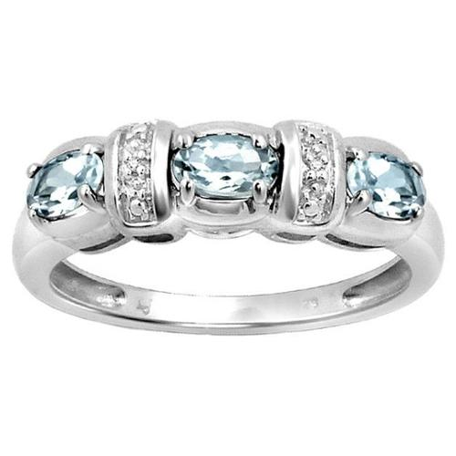 JewelonFire Silver Aquamarine Gemstone and White Diamond Accent Flower Ring by Overstock