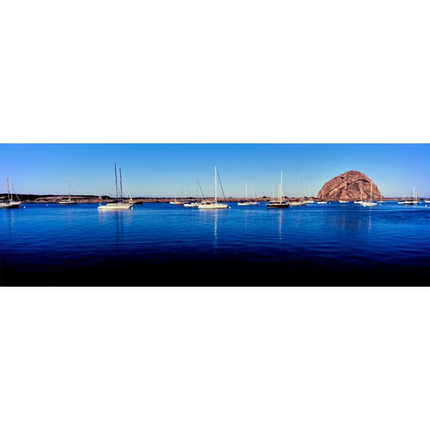 Boats At Harbor In Front Of The Morro Rock Morro Bay San Luis Obispo County California Usa Stretched Canvas Panoramic Images 6 X 18 Walmart Com Walmart Com