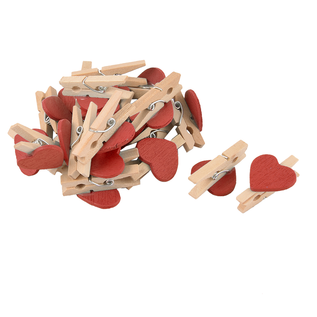 Unique Bargains 20pcs Card Photo Paper Love Heart DIY Clothespin Pegs Mini Wooden Red Clip