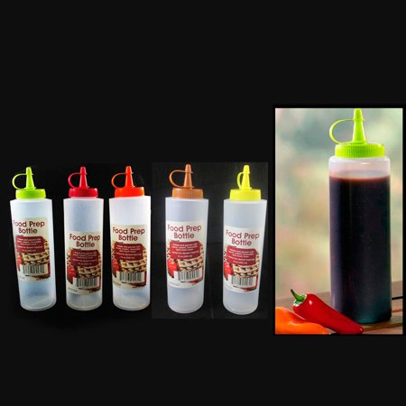 2 Pc Clear Plastic Bottle Squeeze Condiment Ketchup Mustard Oil Mayo Sauce 12oz
