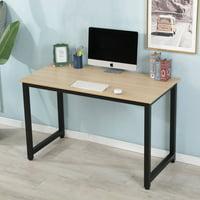 Corner Computer Desk, Home Office Desk with Wood Desktop & Metal Frame, Heavy Duty Computer Table, Modern Kid Student Writing Table, Laptop Desk Workstation, Office Furniture, Wood Color, W4392
