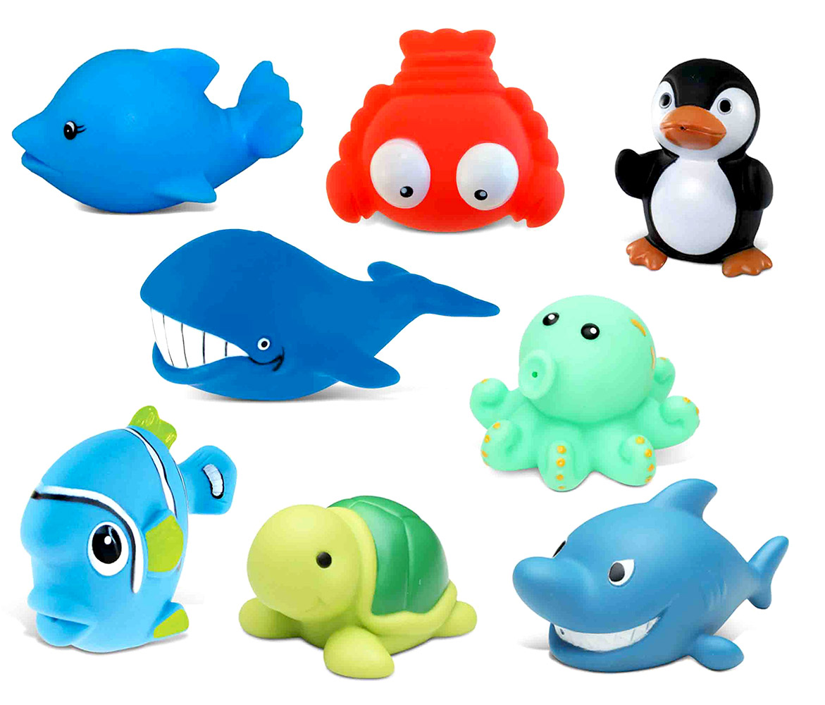 Toddler Bathtime Learning Toy Dollibu Bath Buddies Ocean Critters Rubber Squirter Toys Whale, Octopus, Fishes,... by Puzzled Inc