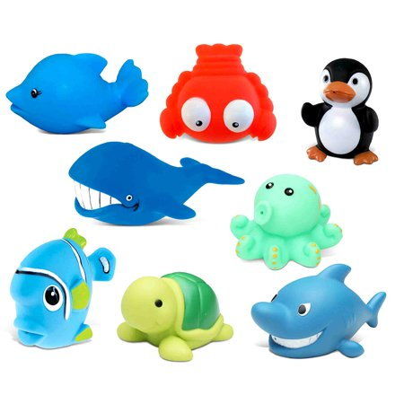 Ocean Buddies (Toddler Bathtime Learning Toy Dollibu Bath Buddies Ocean Critters Rubber Squirter Toys - Whale, Octopus, Fishes, Lobster, Penguin, Dolphin, Shark, Turtle (8pc Set))