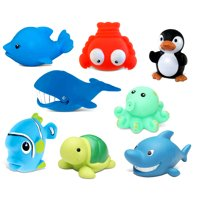 Dollibu Bath Buddies Ocean Critters Rubber Squirter Toys - Whale, Octopus, Fishes, Lobster, Penguin, Dolphin, Shark, Turtle - 3 inch - For Baths, Pool, Outdoor - Baby Bathtime Learning (8pc Set)