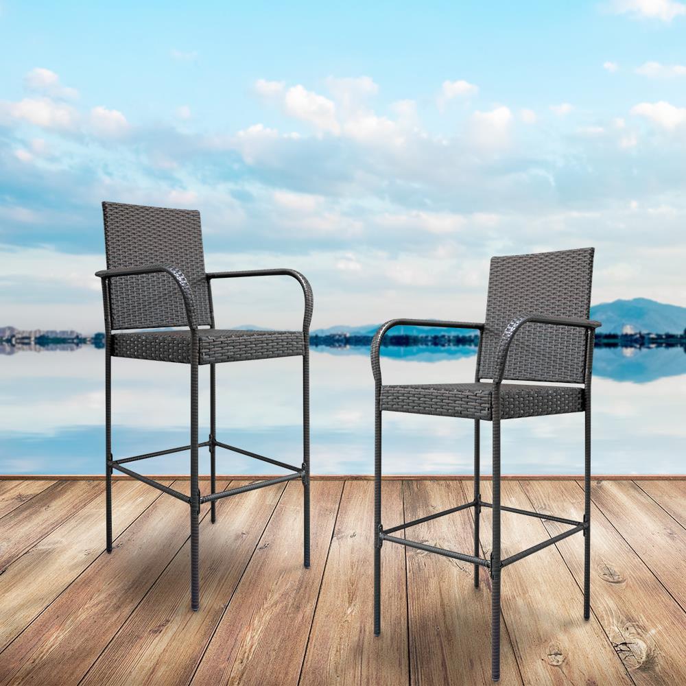 UBesGoo 2pcs Wicker Bar Stool Outdoor Backyard Rattan Bar Chair Seat Patio Furniture Chair Armrest and Footrest